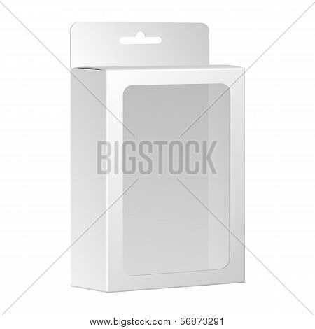 Blank White Product Package Box With Window. Vector