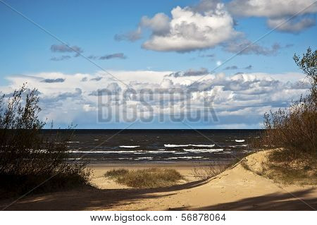 Seashore With Dunes And Stormy Baltic Sea