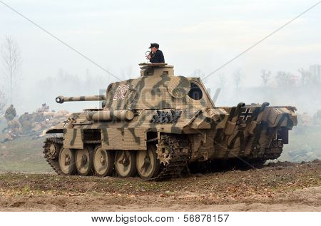 Kiev, Ukraine - November 3: German tank (replica) is displayed on the Field of Battle military history festival on November 3 , 2013 in Kiev, Ukraine