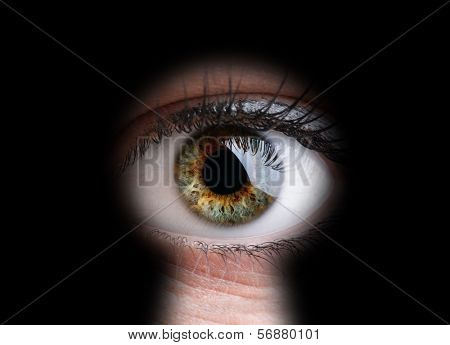 Female eye peeking through a keyhole concept for curiosity, stalker, surveillance and security