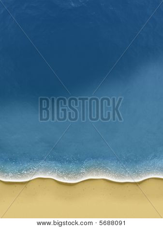 Birds-view Of Waves Rolling Over The Beach