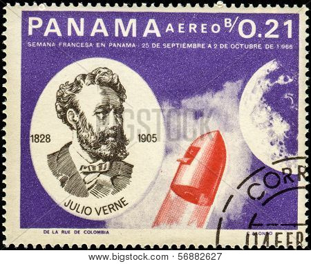 PANAMA - CIRCA 1966: A stamp printed in Panama shows Jules Verne (1828-1905), French Space Explorations, circa 1966