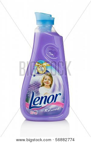 Sarajevo, Bosnia and Herzegovina - January 11, 2014: Studio shot of a bottle of Lenor fabric softener. Lenor is a brand name of fabric softener produced by Procter & Gamble.