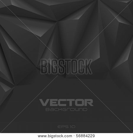 Black polygon background abstract. Charcoal graphite Carbone creative design style. Copyspace.
