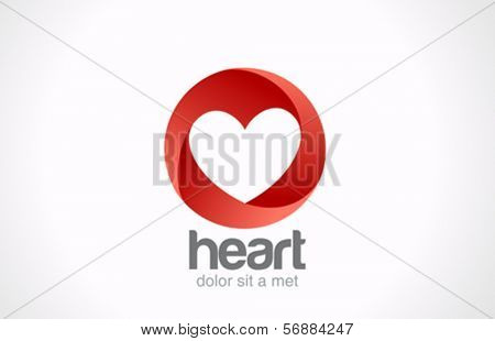 Heart shape hole in Looped Circle vector logo design template. Infinity shape. Infinite Love icon