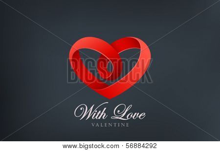 Heart looped ribbon abstract logo vector design template. Creative infinity shape Love infinite icon