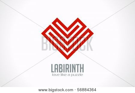 Labyrinth of Love - Heart of lines vector logo design template. Love concept icon. Happy Valentine's Day!