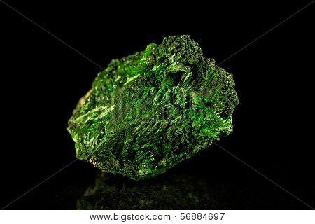 Malachite Mineral Stone, Black Background