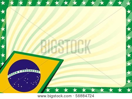 detailed modern background illustration with stars border and brazilian flag elements, eps 10 vector