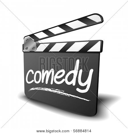 detailed illustration of a clapper board with comedy term, symbol for film and video genre