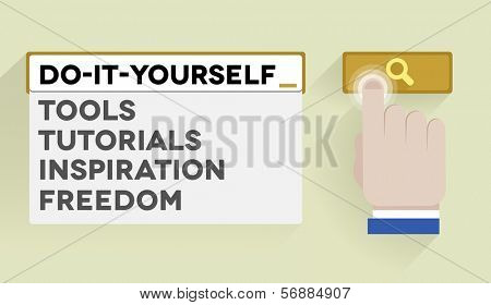minimalistic illustration of a search bar with do it yourself keyword and associations, eps10 vector