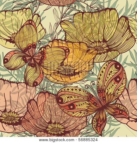 Vintage Retro Hand Drawn Seamless Background With Wild Flowers And Butterflies. Eps10