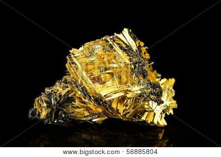 Hematite With Rutile In Front Of Black