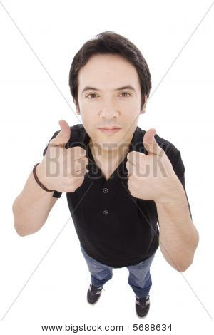 Young Casual Man Full Body Tumbs Up Isolated On White