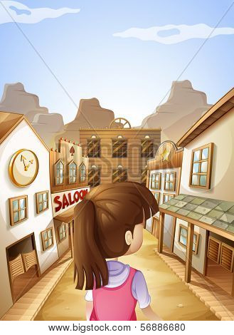 Illustration of a young lady going to the saloon bar