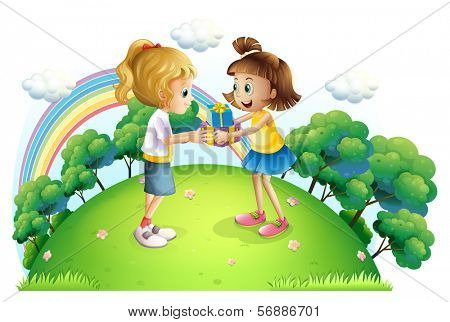 Illustration of the two girls exchanging gifts at the hilltop on a white background
