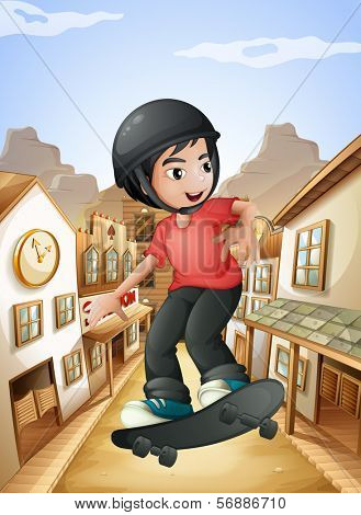 Illustration of a boy skateboarding near the saloon bars