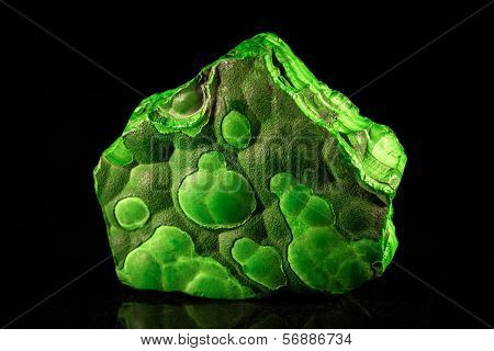 Green Malachite In Front Of Black
