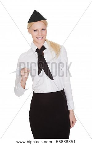 Portrait Of Beautiful Young Stewardess