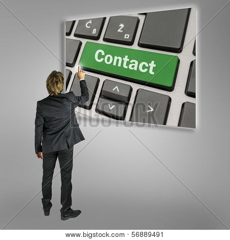 Businessman Activating A Contact