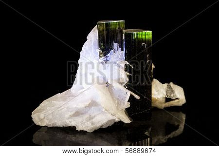 Verdelite Quartz In Front Of Black