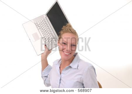 Woman Throwing Laptop