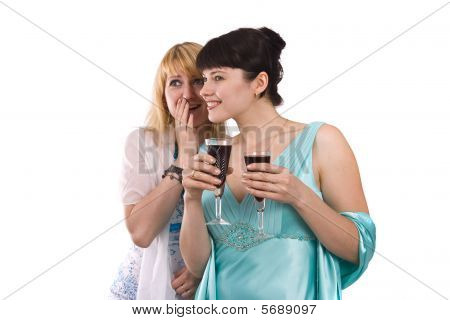 Women Drinking And Talking.