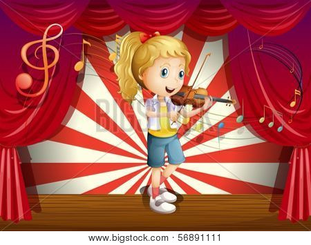 Illustration of a stage with a young performer