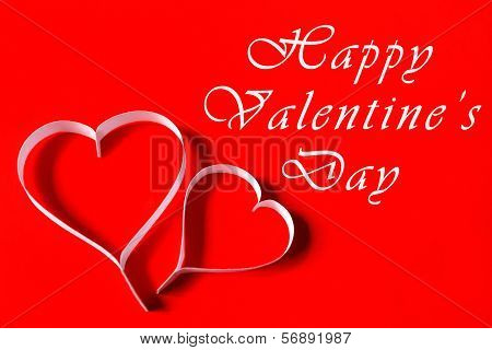 Happy Valentine's Day - White Paper Hearts On Red Background