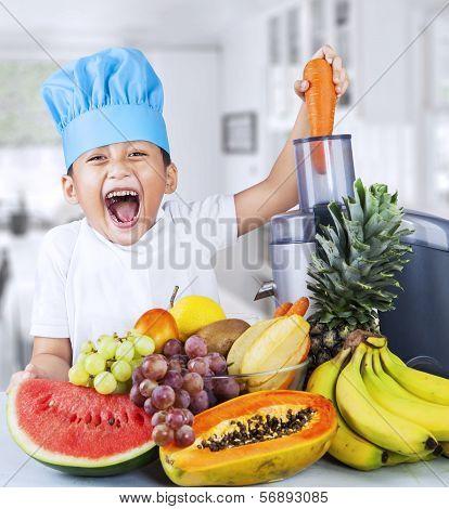 Little Chef Is Making Fruit Juice