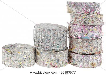 Compressed Paper Briqueetes Fire logs Isolated on White Backgrounf