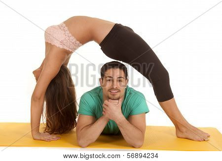 Fitness Couple Backbend Over Him
