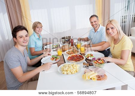 Family Eating A Cold Lunch