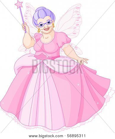 Smiling Fairy Godmother holding magic wand. Raster version