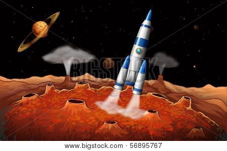 Illustration of the planets and a spaceship at the outerspace