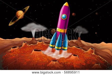 Illustration of a rocket and planets at the outerspace