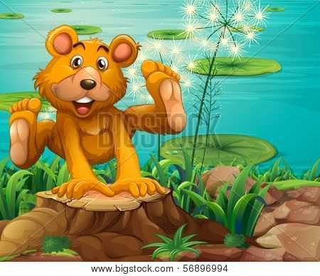 Illustration of a playful bear above the stump