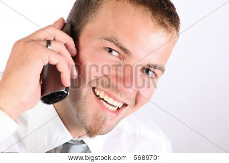 Corporate Man Smiling On The Phone