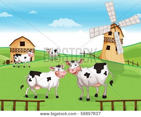 Illustration of the cows at the hilltop with a windmill