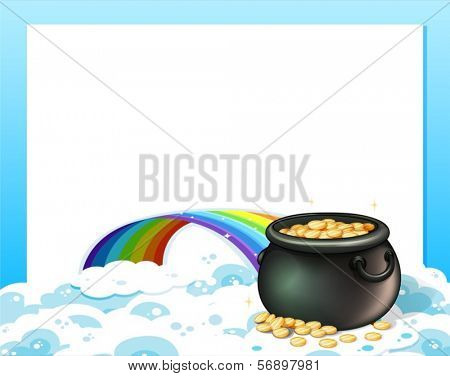 Illustration of an empty template with a pot of gold and a rainbow