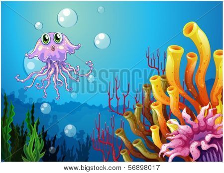 Illustration of an octopus and the coral reefs under the sea on a white background