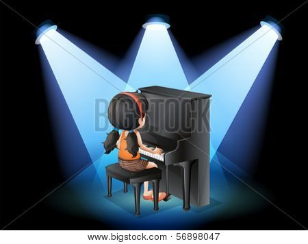 Illustration of a talented young girl playing with the piano