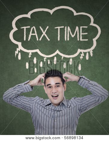 Worried Businessman Thinking Tax Time