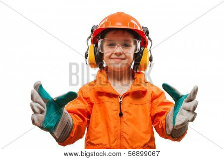 Little smiling child boy engineer or manual worker in safety hardhat helmet and gloves white isolated