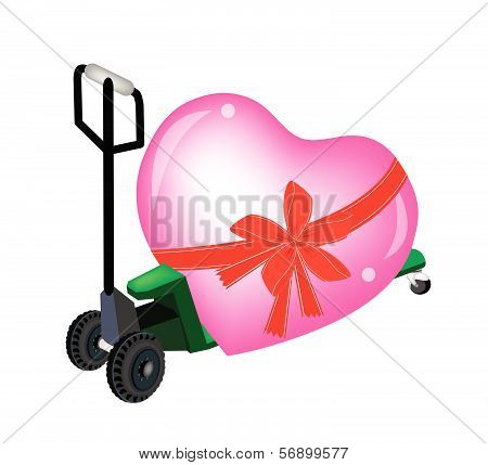 A Pallet Truck Loading A Big Heart