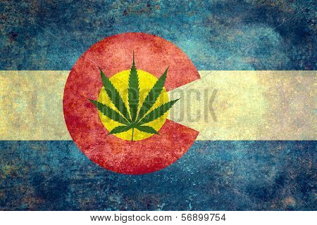 Colorado flag with cannabis leaf