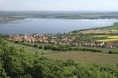 pic of dam  - Small and picturesque village Pavlov near the Nove Mlyny dam in South Moravia wine growing region Palava - JPG