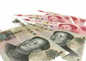 Chinese Yuan Renminbi (rmb) Banknotes Close Up poster