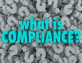 What is Compliance words on a background of question marks to ask the definition of standards, guide