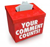 stock photo of soliciting  - Your Comment Counts words on a red suggestion box to illustrate the value and importance of feedback - JPG